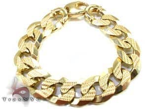 Yellow Gold Cuban Bracelet 91 Grams Gold Mens Bracelets