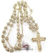 Iced Rosary Chain and Cross 32 Inches, 6mm, 33 Grams Diamond Gold Rosary Chains